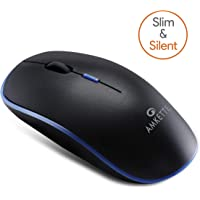 Amkette Hush Pro Air Slim and Silent Wireless Mouse with USB Receiver - (800-1200 - 1600 DPI) - (Black-Blue)