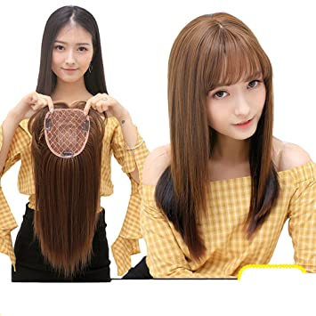 Moreal 14 quot  Straight Synthetic Hair Extensions Middle Part Clip in Mono  Topper Top Hairpiece for 013e47d16f