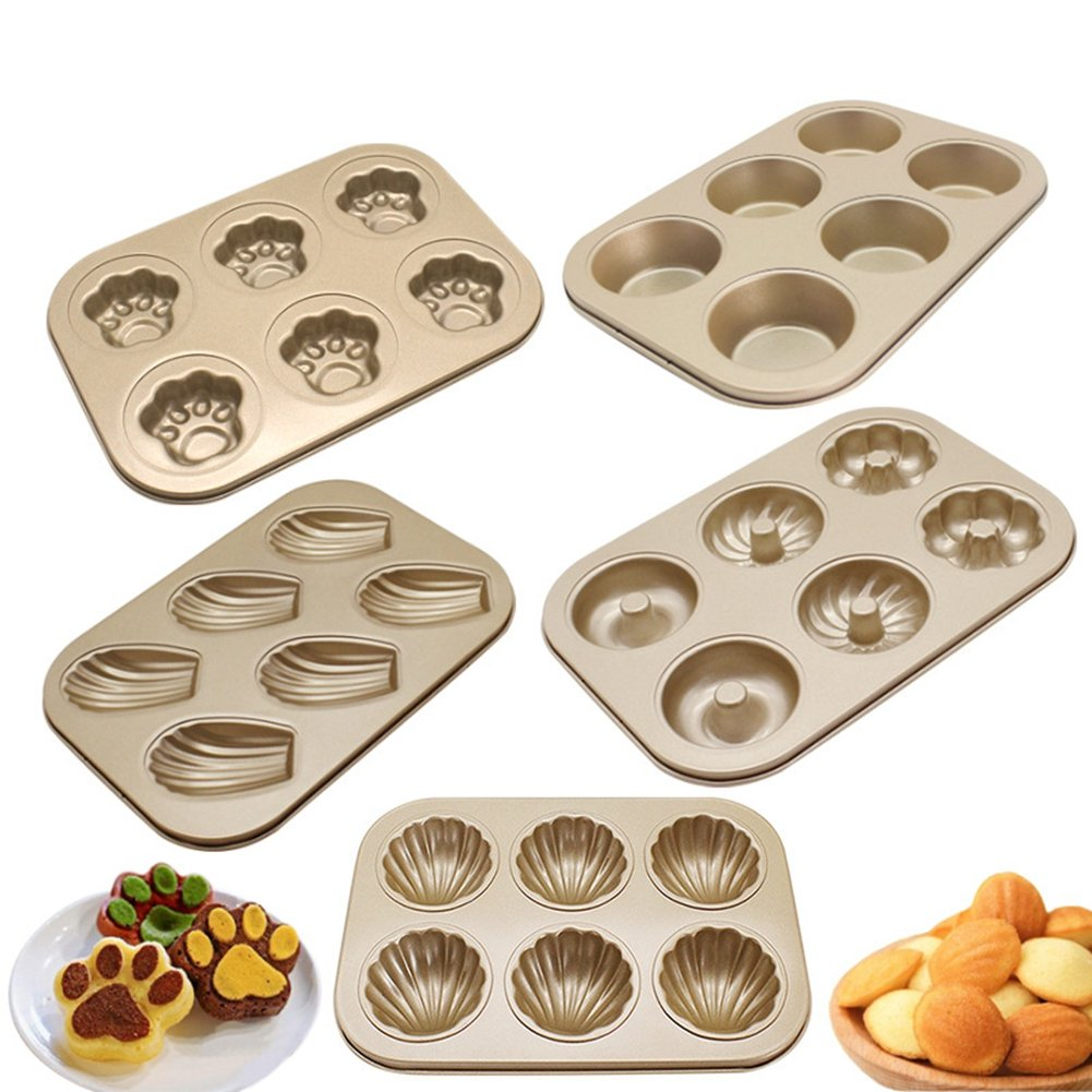 Shell Cat Paw Donut Cup Shape Non-Stick Carbon Steel Madeleine Pans Mold for Cake Cookie Baking Biscuit Chocolate Soap Ice Cube Tray ( Pack of 5 )