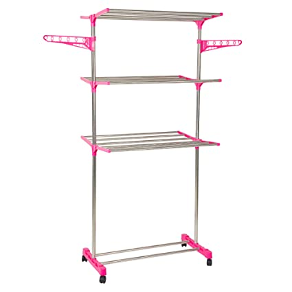 Amazoncom Lucky Tree 3 Tier Folding Clothes Drying Rack Stainless