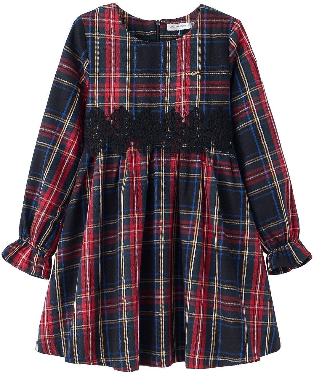 c4be4ae18 Amazon.com: AuroraBaby Toddler Girls Plaid Dresses Long Sleeve Warm Dress  for School Autumn Winter Purple: Clothing