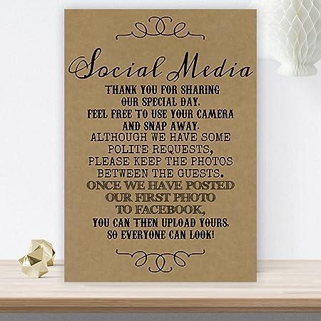 Cartel rústico para boda con poema de «No Photos On Social ...