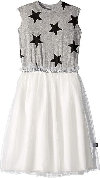 bfe8d6a176 NUNUNU Girl's Star Tulle Dress (Little Kids/Big Kids) Heather Grey 6-