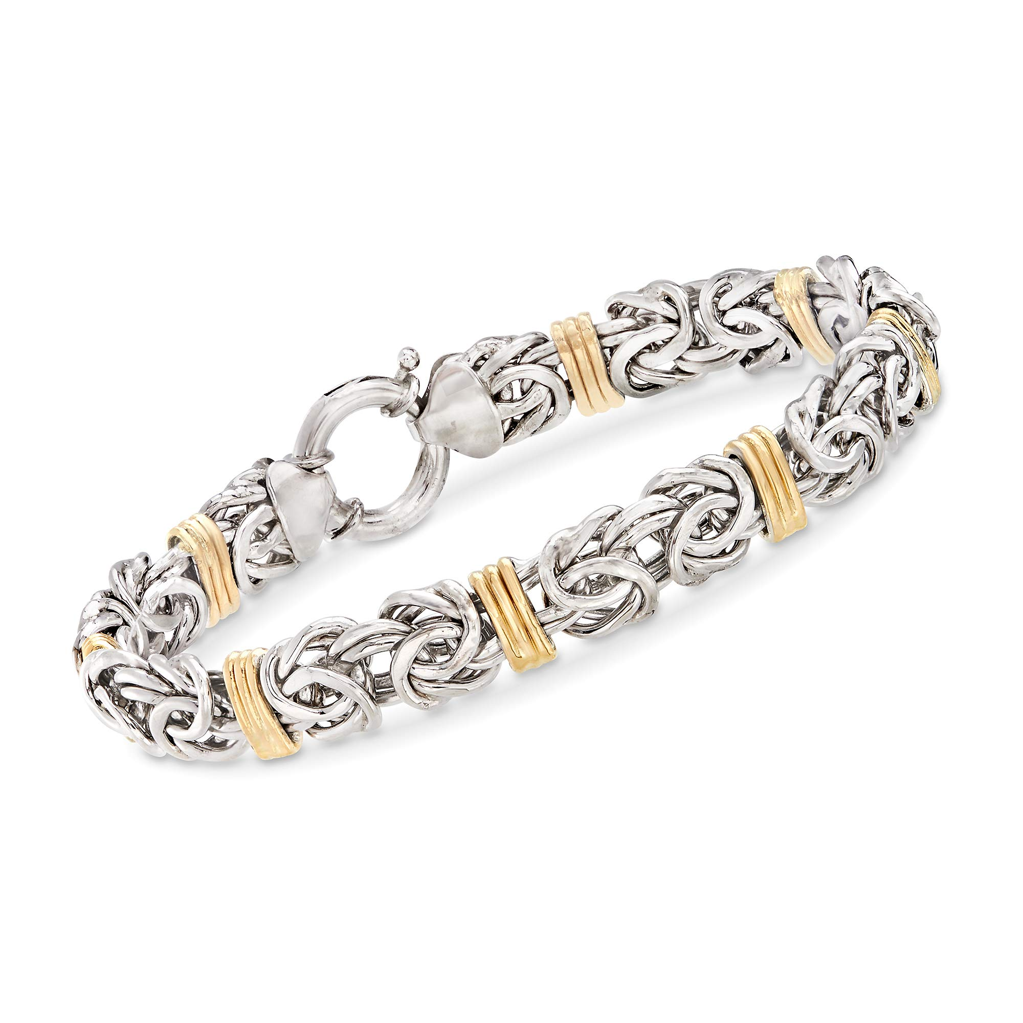 Ross-Simons Byzantine Bracelet in Sterling Silver and 14kt Yellow Gold