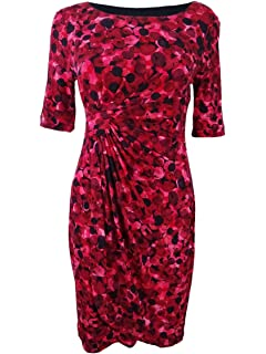 Connected Womens Petite Dot-Print Faux-Wrap Dress