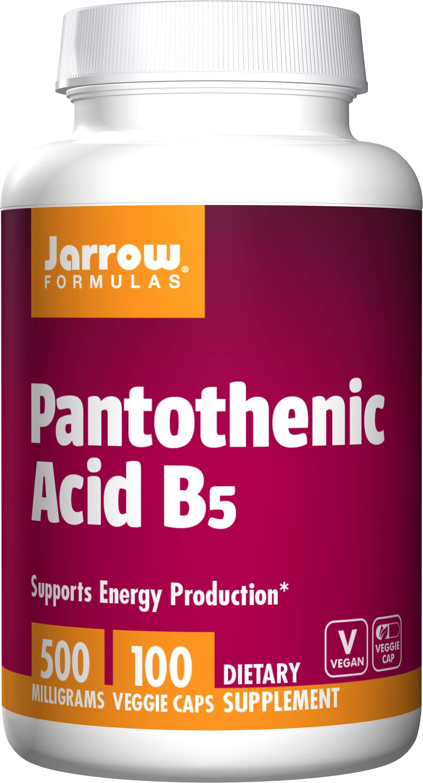 Jarrow Formulas Pantothenic Acid B5 500 mg - 100 Veggie Caps - Essential B Vitamin - Energy Production & Metabolism Support - 100 Servings