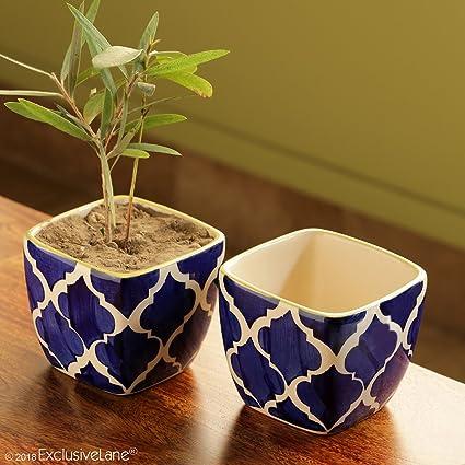 ExclusiveLane 'Moroccan Roots' Handpainted Living Room Garden Decorative  Flower Pots Cum Ceramic Planters (Set of 2)