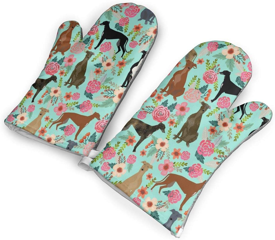 Zuoyoudf82 Greyhound Floral Cute Dog Mint Vintage Oven Mitts and Potholders Kitchen Counter Safe Trivet Mats | Advanced Heat Resistant Oven Mitt, Non-Slip Textured Grip Pot Holders