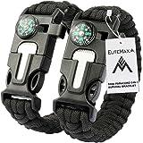 EliteMax 5-In-1 Outdoor Paracord Survival Kit - Black (Pack of 2)