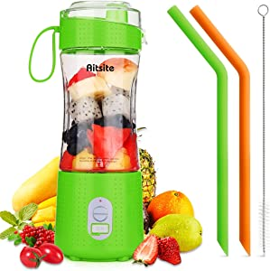Aitsite Portable Blender, Personal Mixer Fruit Rechargeable USB with 2 Straws, Mini Blender for Smoothie, Fruit Juice, Milk Shakes 380ml, Six 3D Blades for Great Mixing (Green)