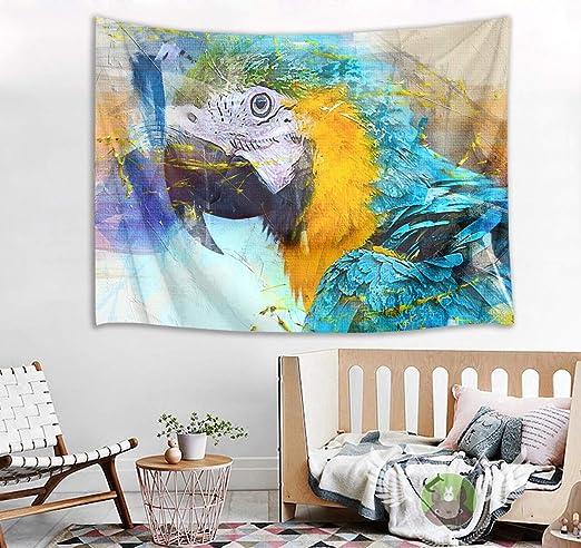 Blue parrot Tapestry Wall Hanging for Living Room Bedroom Dorm Decor