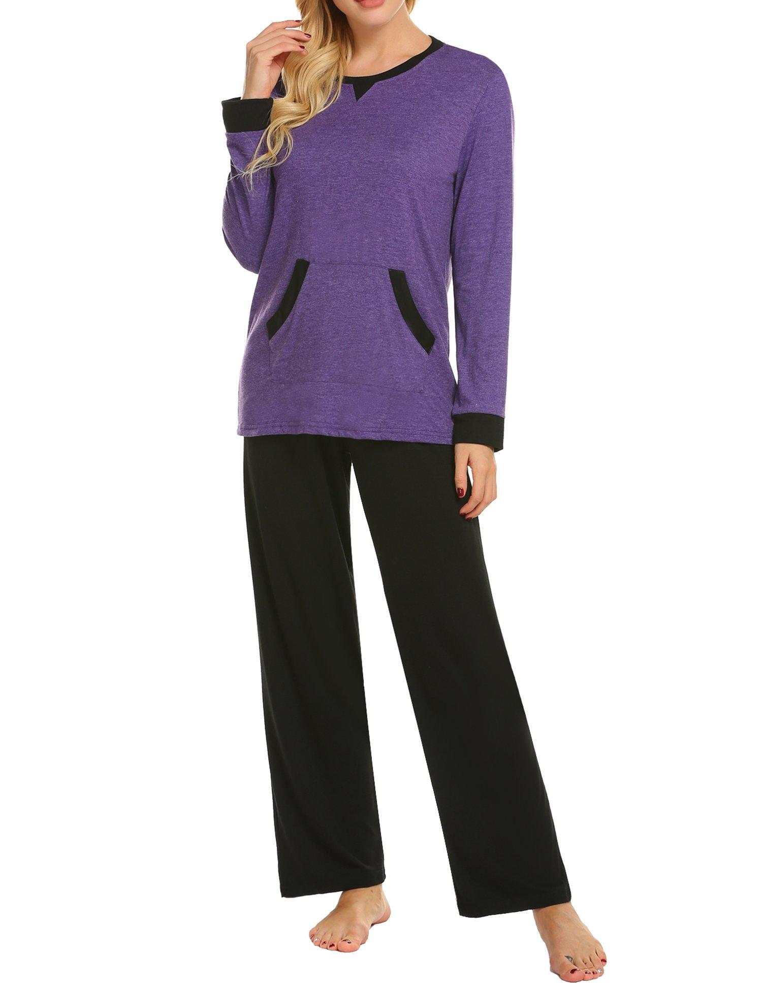 MAXMODA Soft Pajamas Long Sleeve Sleepwear Soft PJ Set with Pants Purple L by MAXMODA (Image #3)