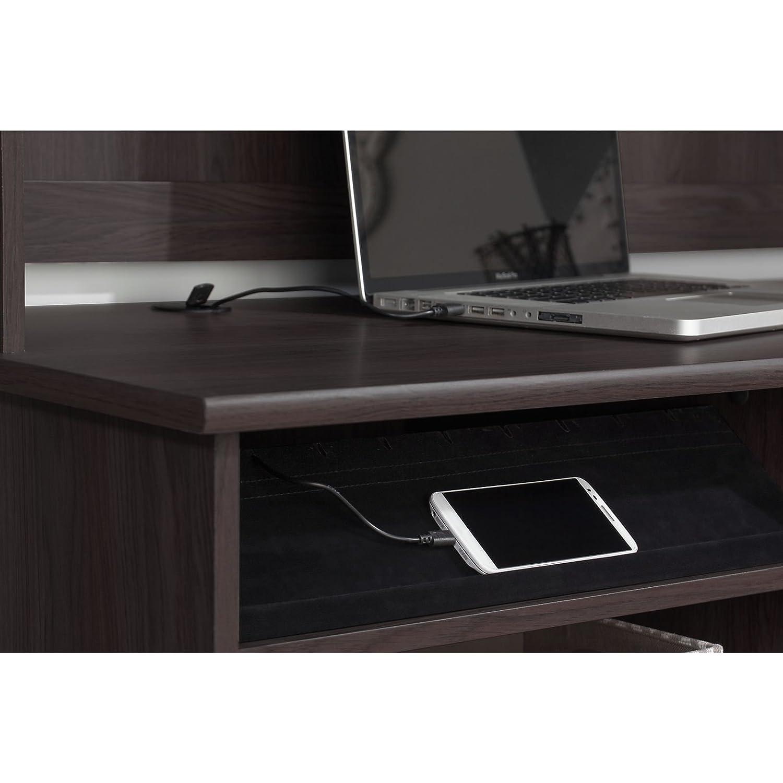 Bush Furniture Cabot Corner Desk with Hutch in Heather Gray