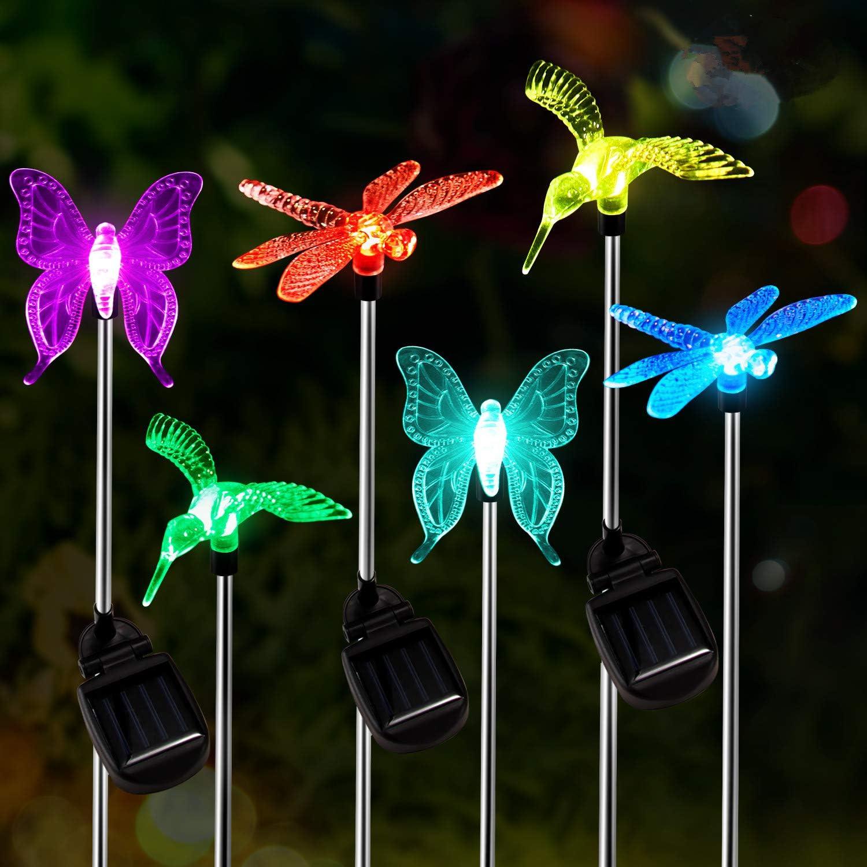 Solar Power Hummingbird Garden Stake Set of 2 Pathway Garden Lights Color Change