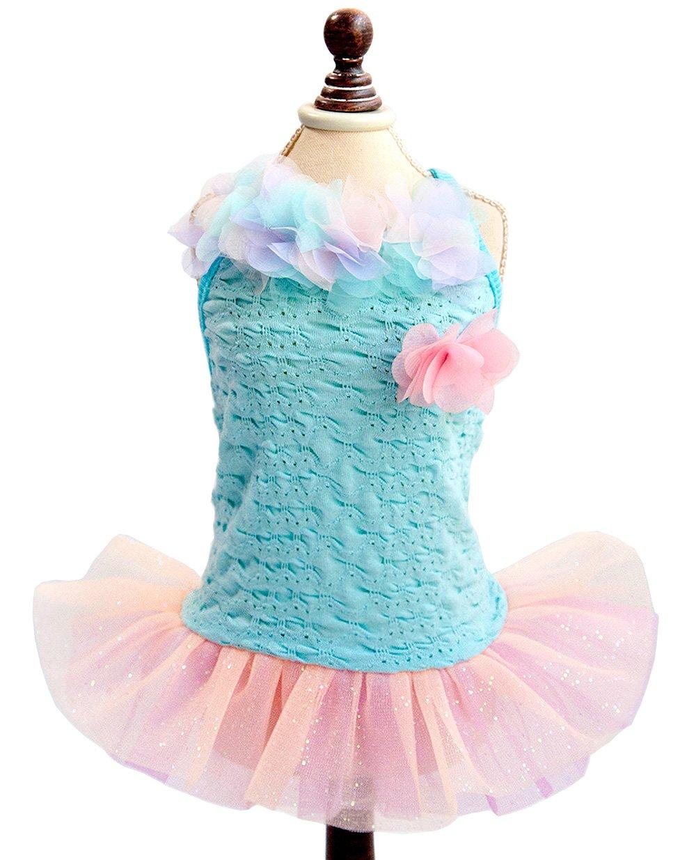 SMALLLEE_LUCKY_STORE Pet Small Dog Puppy Costume Cotton Summer Strap Dress Tutu Flower Trim Blue XS