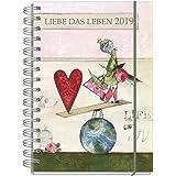 """Jahreskalender, Kalender Buch für 2019, je Woche eine Seite, mit lebenslustigen Motiven, Design """"Liebe das Leben"""", liebevoll illustriert von ... Notizen, Spiralbindung mit Gummiband, DIN A5"""