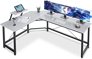 Coleshome L Shaped Desk with Shelf, Reversible Sturdy L Shaped Gaming Desk, L Desk for Home Office, Space Saving Corner Desk Easy to Assemble, White