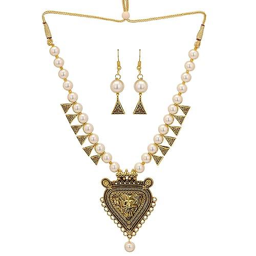 Jwellmart Indian Gold Plated Kundan CZ Faux Pearl Partywear Earrings Tikka Set