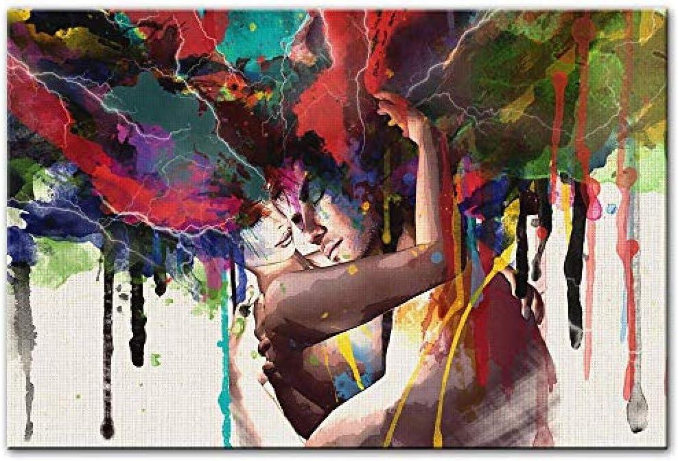 WJY Arte Abstracto en Lienzo Pinturas murales Pareja de Enamorados Carteles e Impresiones Modernos de la Pared Retrato Impresiones en Lienzo para la Sala Cuadros 60cm x90cm Sin Marco