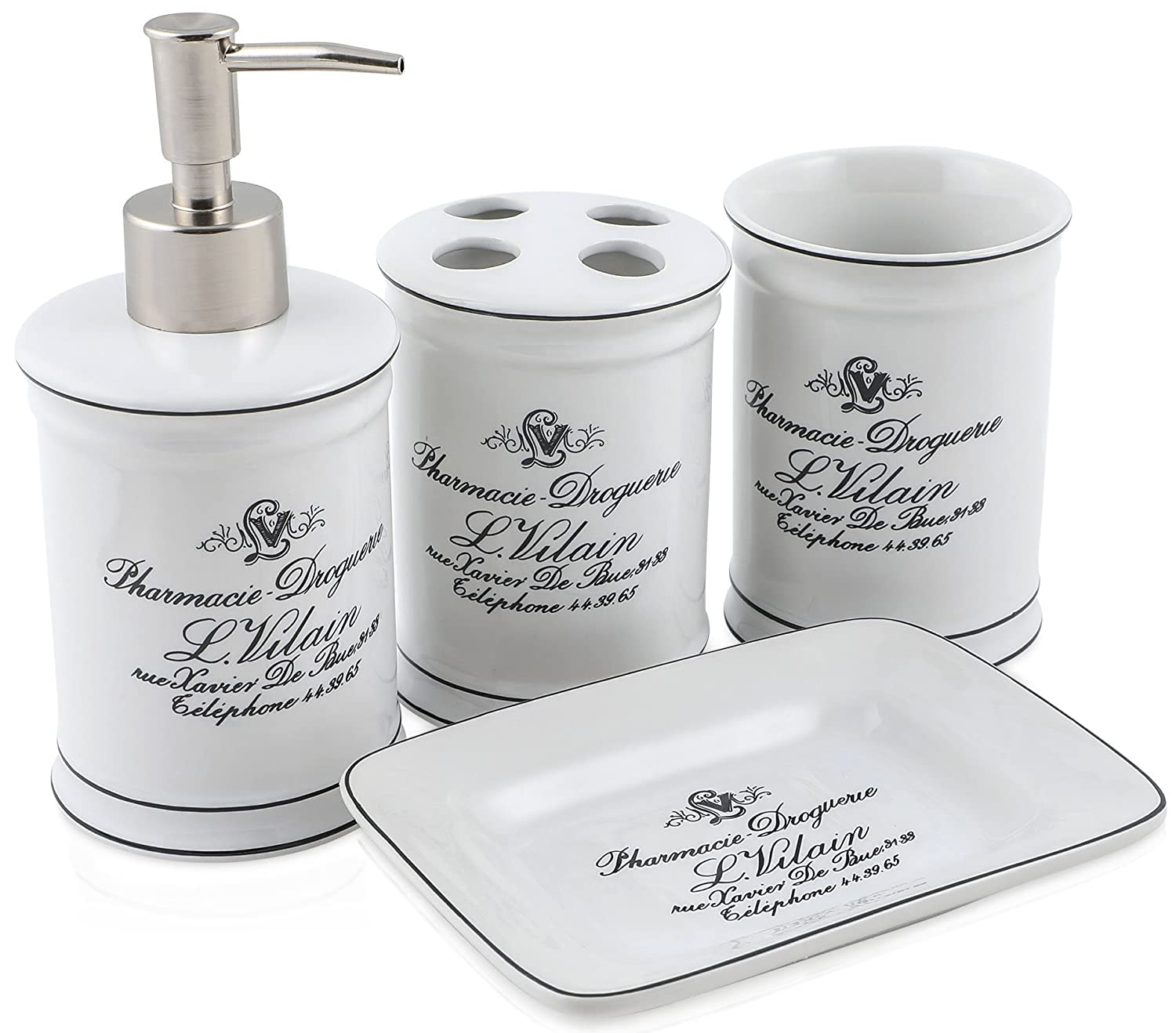 Vintage Chic Bathroom Accessory Set. Classic French Provincial 4 Piece Bath Gift Set includes liquid soap/lotion dispenser, toothbrush holder, tumbler, and soap dish. Decor D' azur