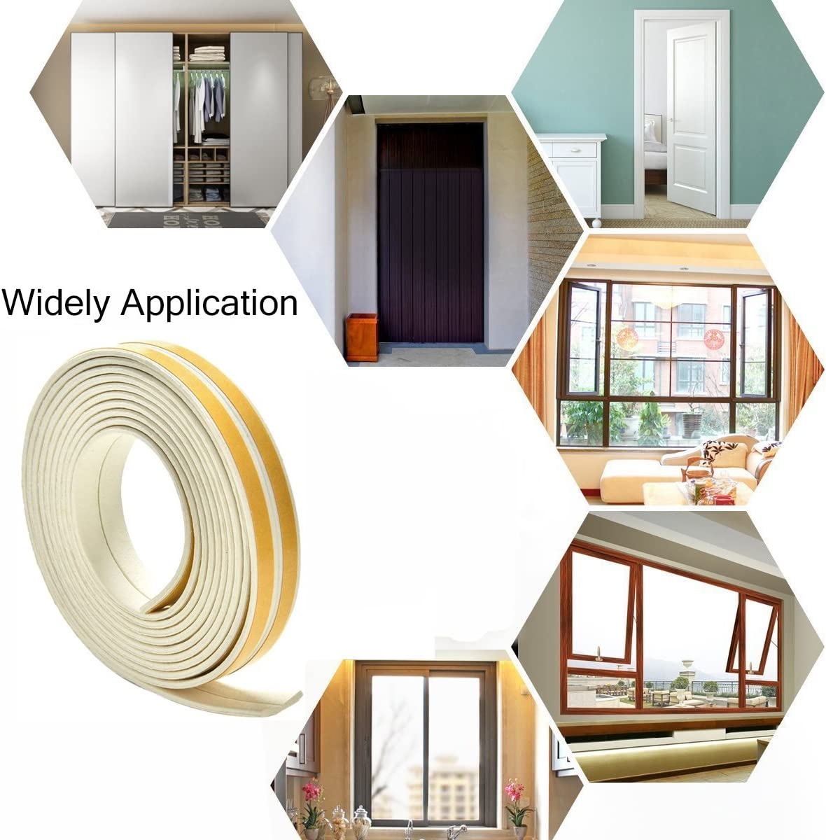 E type, White Bro Door Window Draught Excluder Strip Foam Seal Weather Stripping EPDM Tape Adhesive Rubber Soundproofing Weatherstrip 9mm x 4mm x 3 Meters 4 Seals Total 12M 2 Pack