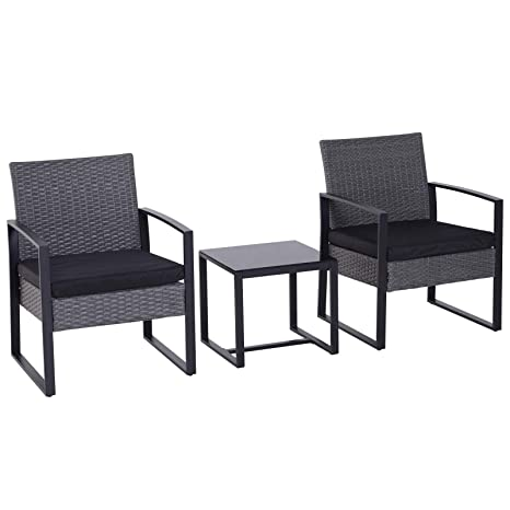 70cba4d604e Outsunny 3PC Rattan Coffee Table and 2 Chairs Set Bistro Set Garden Yard Outdoor  Patio Wicker Furniture Grey  Amazon.co.uk  Garden   Outdoors
