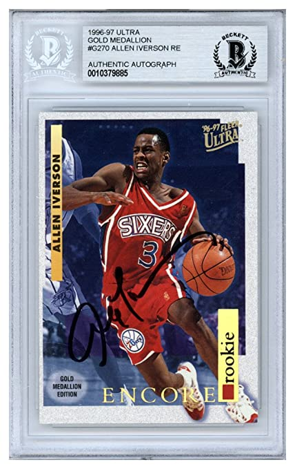 6bb0abc7 Allen Iverson Autographed Signed 1996-97 Fleer Ultra Encore Rookie Card  #G-270