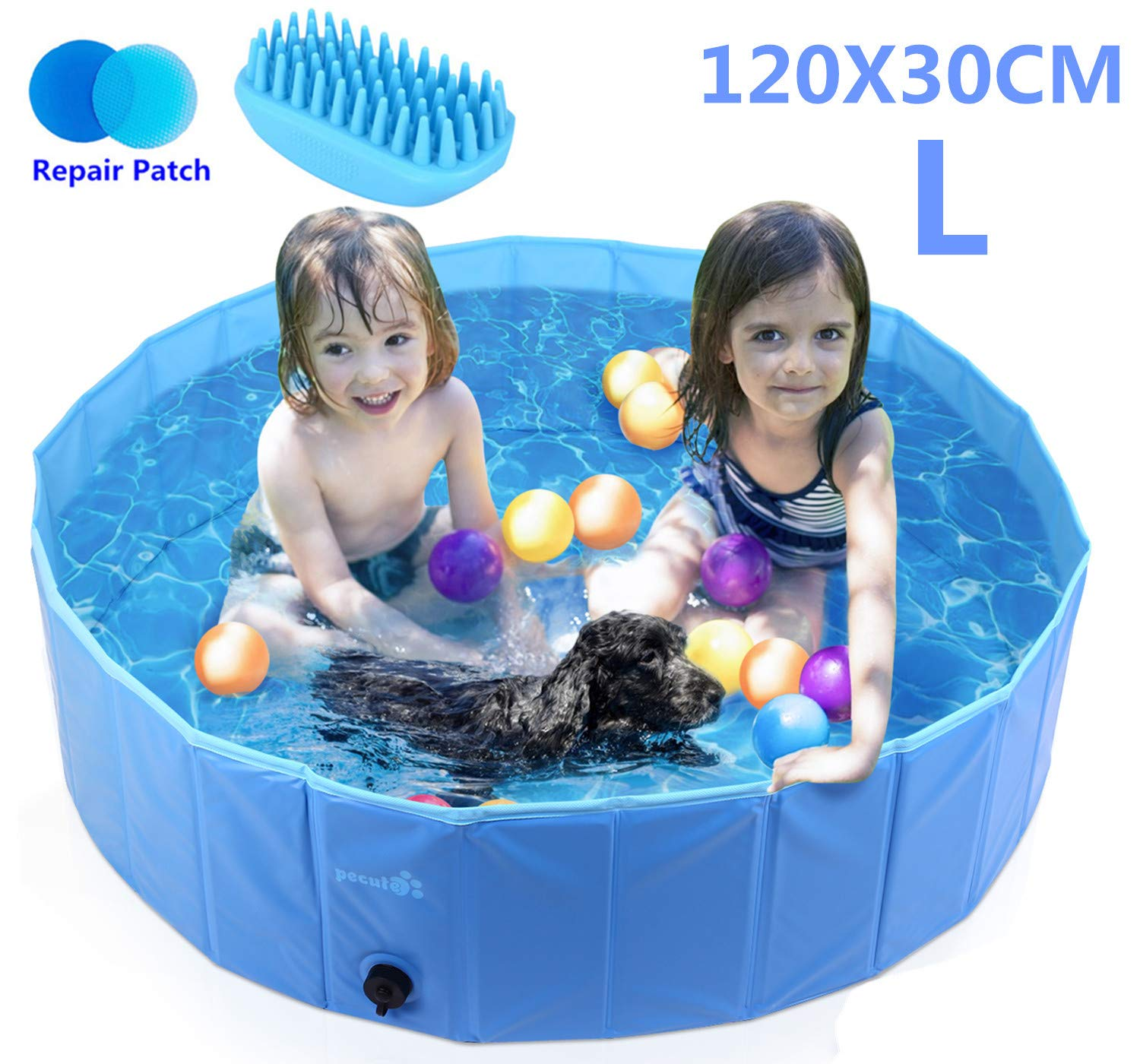 Pecute Dog Pool PVC Outdoor Pool Bathing Tub Portable Pet Playing Pool for Dogs Cats and Kids -(L,Φ47 × H12 Inches)