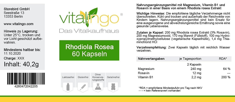 Cápsulas de Rhodiola Rosea - Mejor Calidad y Alta Dosis | 60 piezas de cápsulas de raíz de rosa con 200 mg de extracto de Rhodiola rosea (rosavin 3%): ...