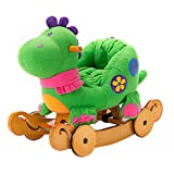 Labebe Baby Wooden Rocking Horse Green Dinosaur 2-in-1 Toddler Ride-on Toys for 6 months to 3 years Old Kids Creative Birthday Gift