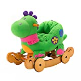 Labebe Baby Wooden Rocking Horse 2-in-1 Green Dinosaur, Kids Rocking Ride-on Toys for 6 Months to 3 Years Old Baby Boys and Baby Girls, Dual Use as Stroller, ASTM Safety Certified
