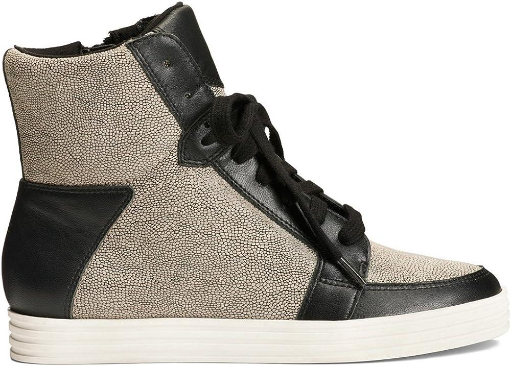 Aerosoles Women's BALTIMORE Fashion Sneaker Black/Tan Lizard Printed Leather
