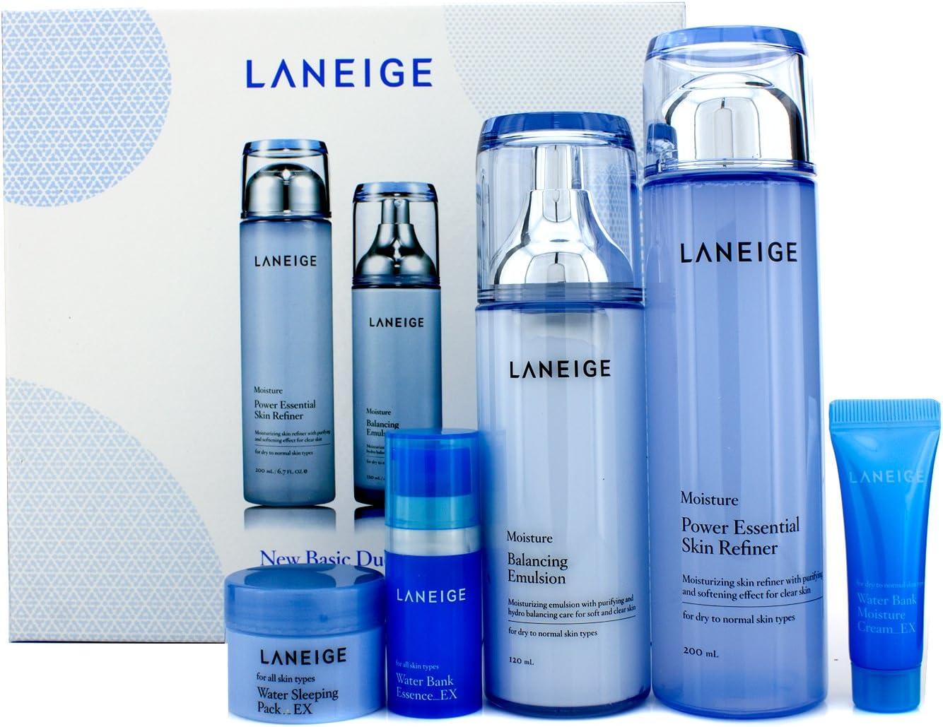 Laneige Basic Duo Set (Moisture): Skin Refiner + Emulsion + Sleeping Pack EX + Essence EX + Moisture Cream EX 5pcs: Amazon.es: Belleza