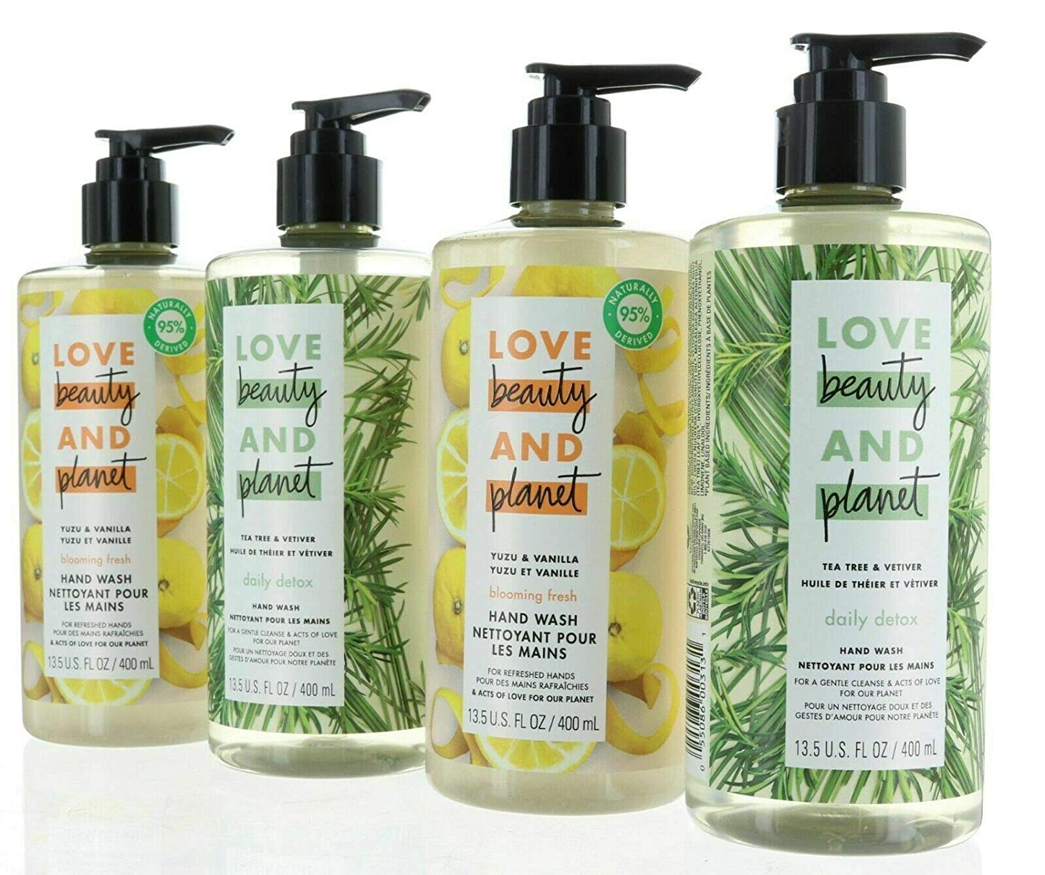 Love Beauty And Planet Store Yuzu and Vanilla liquid and Tea Tree and Vetiver Hand Wash 13.5 Oz (4 Pack) 2 of each flavor : Beauty