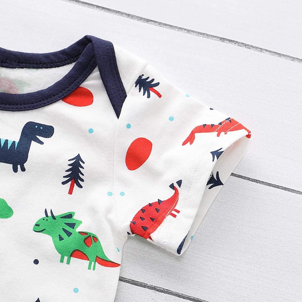 Valentines Toddler Pajamas Baby Boy Girl Short Sleeve Cartoon Dinosaur Romper Bodysuit Cotton Pants Sleeping Hat Outfit