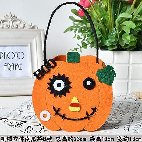 Halloween Pumpkin Bag Portable Halloween Prop Basket Non-woven Candy Bag UK
