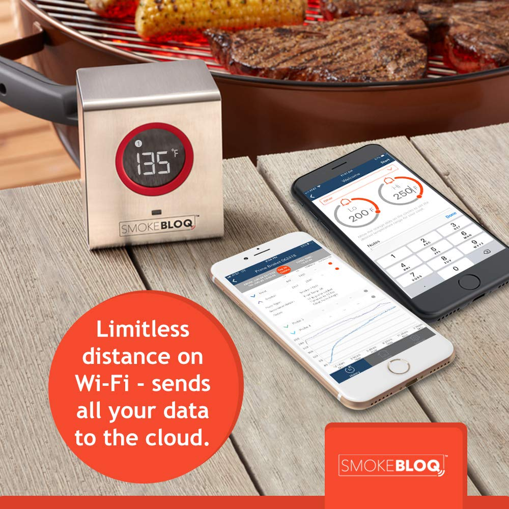 SmokeBloq Wi-Fi Meat Thermometer for iPhone/Android - Digital Meat Thermometer for Grill & Smoker Monitoring - Weatherproof  Thermometer, Access Cloud Data from Anywhere, Includes 2 Temperature Probes by SmokeBloq