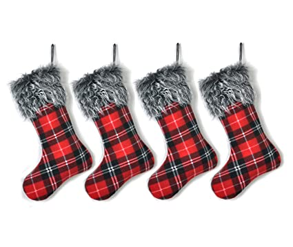 welldone buffalo plaid christmas stockings red decoration best gifts decor for home