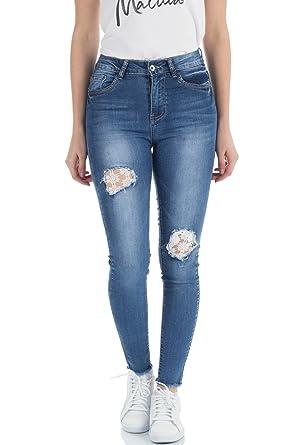 MALUCAS DAMEN HIGH Waist Jeans Skinny Höher Bund Röhrenhose