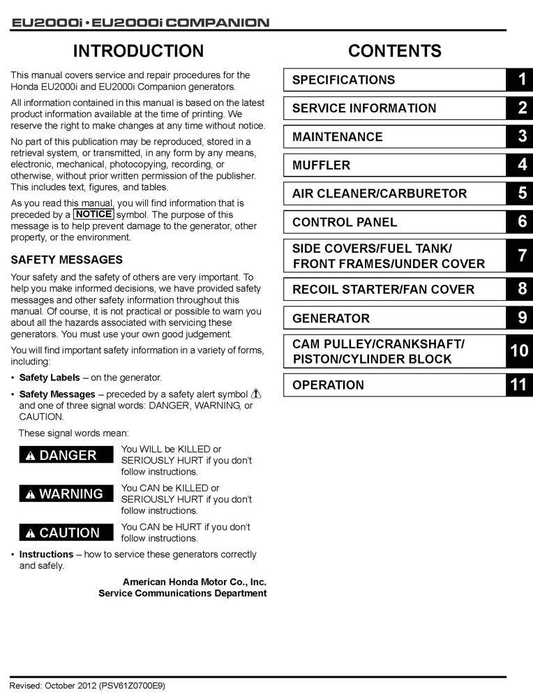 amazon com honda eu2000 eu2000i generator service repair shop rh amazon com honda generator eu2000i owner's manual honda eu2000i owners manual