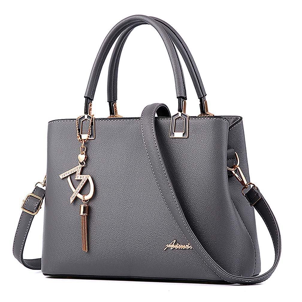 Womens Purses and Handbags Shoulder Bags Ladies Designer Top Handle Satchel Tote Bag (Grey)