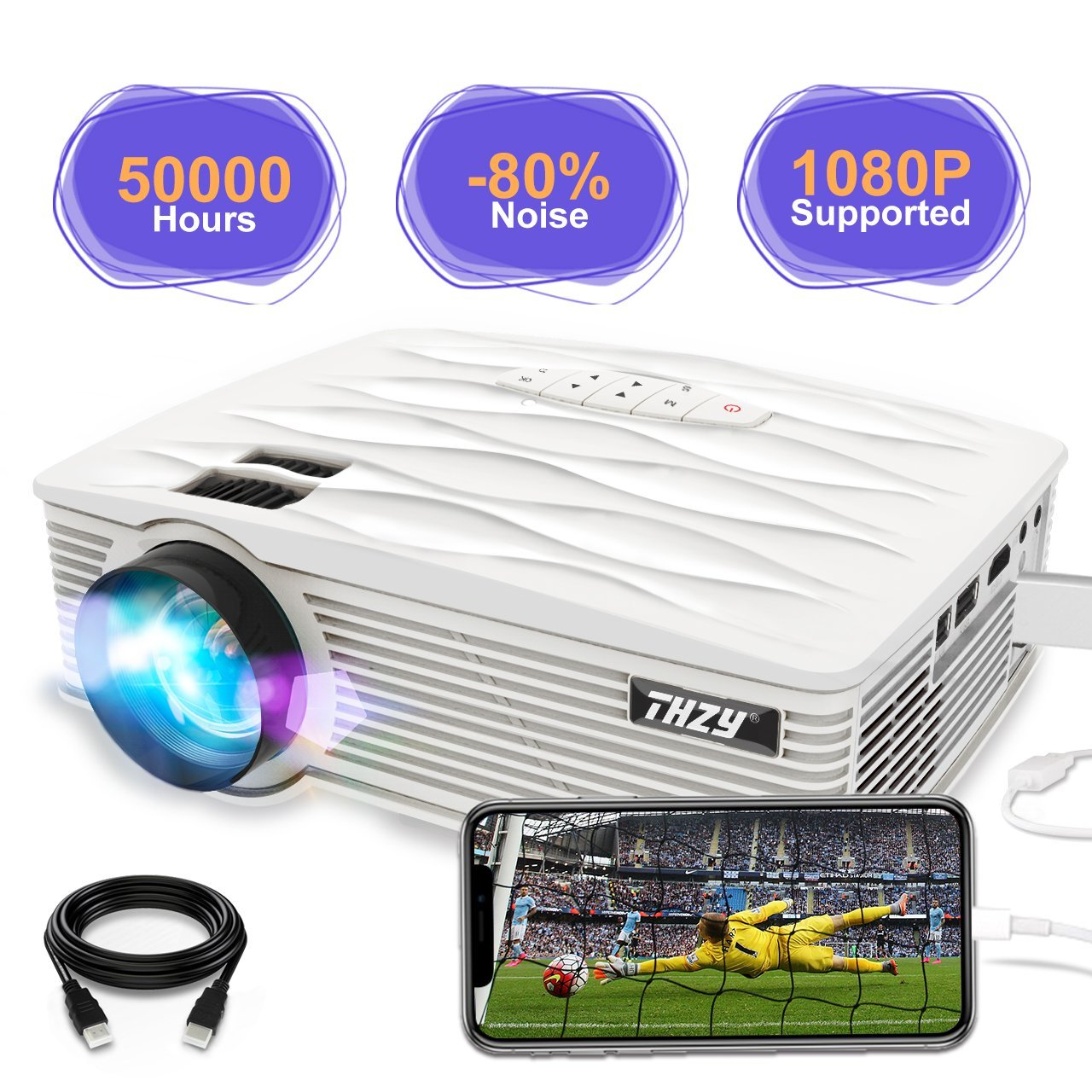 THZY Video Projector 2200 lumen Full HD LED Mini Portable Projectors 1080P Supported Compatible with Amazon Fire TV Stick, HDMI, VGA, USB, AV, SD Card, iPhone, PS4 for Home Theater Entertainment
