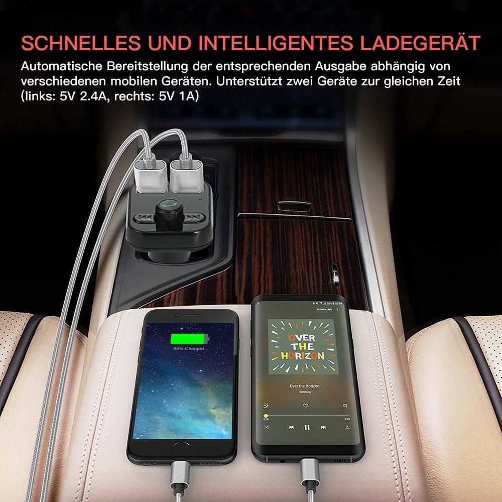 adattatore radio per auto Fukkie microfono integrato per iPhone iPad e dispositivi Android slot per scheda TF wireless Trasmettitore FM Bluetooth kit vivavoce con caricatore doppio USB 5 V//2,4 A