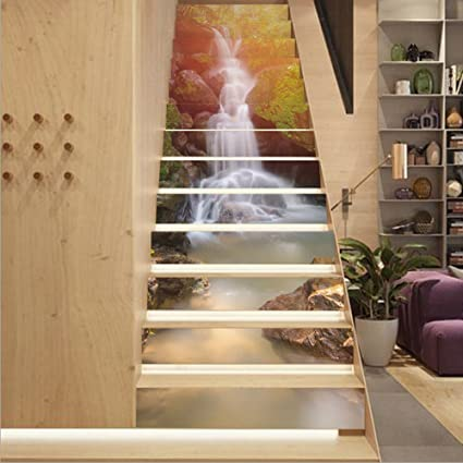 Fuloon Waterfall 3D Stair Sticker DIY Steps Sticker Wall Decal Mural  Wallpaper Removable Decals For Home