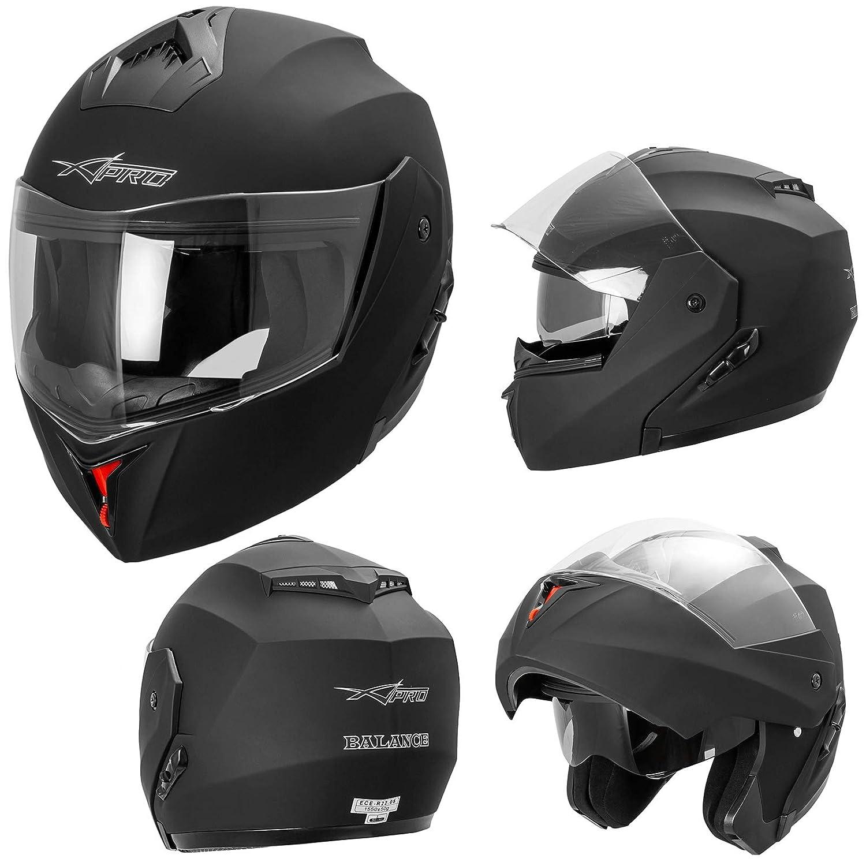 A-PRO SRL Casque Int/égral Double Visi/ère ECE 22-05 Moto Scooter Argent XL