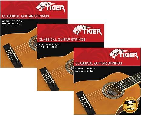 Tiger - Juego de 3 cuerdas para guitarra clásica: Amazon.es ...