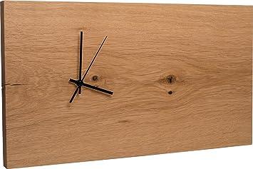 Funk Wanduhr Eiche Massiv | Echt Holz Uhr 43 X 24cm | Schlicht U0026