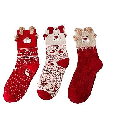 Ladies Snowflake Christmas Socks Festive Red Winter gift Stocking Filler