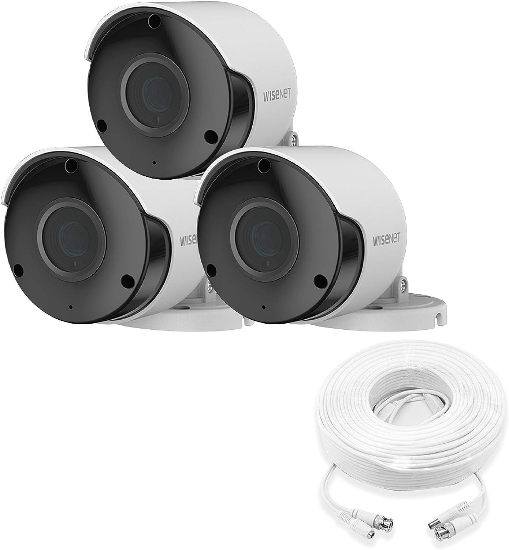 Wisenet SDC-89445BF 5MP CCTV Surveillance Weatherproof Bullet Security Camera 82ft IR Distance Plastic Housing 3.6mm Lens 104° Wide Angle (Triple Pack)