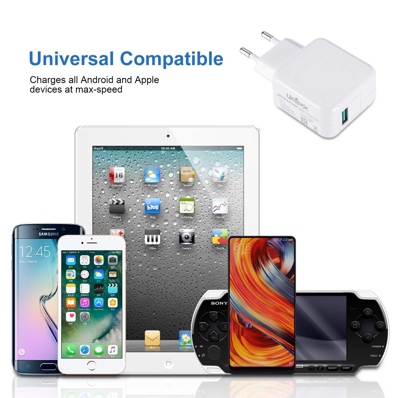 UrbanX 18W Cargador USB Quick Charge 3.0 - Cargador de Viaje Enchufe Carga Rápida para Xiaomi Pocophone F1 Mi A2 Mi 5/8/9 Pro Mix 3 A1 Samsung S10 S9 ...